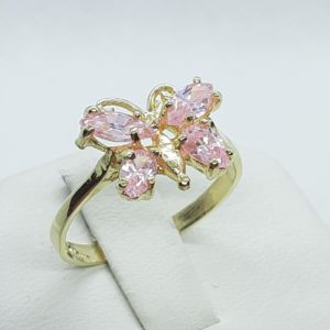 10k Yellow Gold Pink Ice Butterfly Ring Size 7