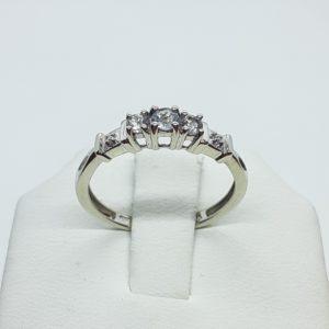 10k White Gold Aquamarine and Diamond Anniversary Band Ring Size 7