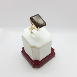 14k Yellow Gold Smokey Quartz Ring Size 7-1/2