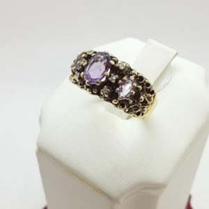 14k Vintage Amethyst and Diamond Ring Size 8