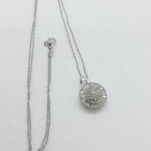 10k White Gold .33 carat Diamond Pendant with 18″ 10k White Gold Necklace