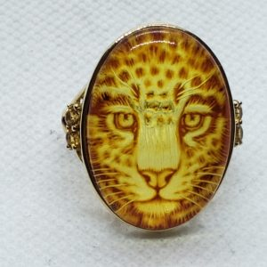 14k Yellow Gold Ladies Amber Ring With Reverse Leopard Carving ~size 9~